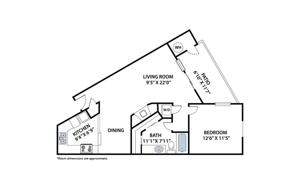 Terrain - 1 bedroom floorplan layout with 1 bath and 800 square feet.