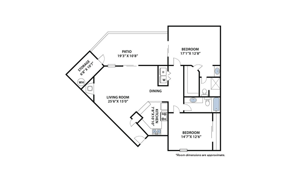 Timber - 2 bedroom floorplan layout with 2 baths and 1010 square feet.